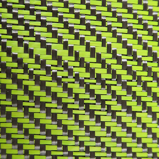 Carbon Fiber/Fiberglass - LIME GREEN - 2x2 Twill - (3k) - 12.53oz