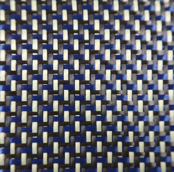 Carbon/Kevlar - BLUE/YELLOW - 2x2 twill - (3k) - 6.5oz