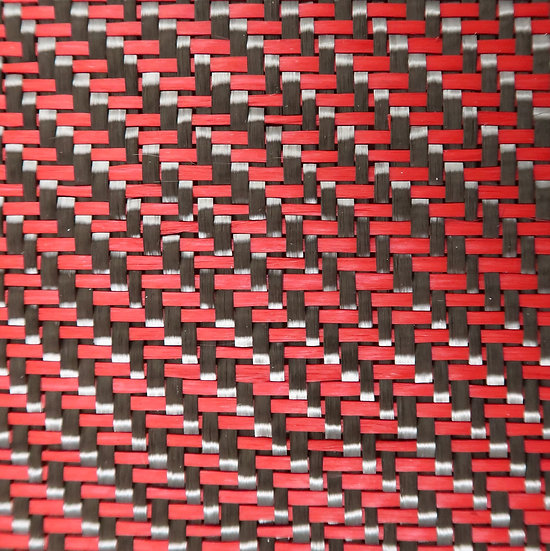 Carbon Fiber/Fiberglass - RED - 2x2 Twill - (3k) - 12.53oz