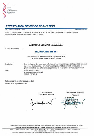 attestation-EFT