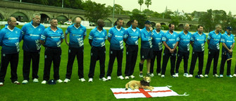 """The England side lines up for """"God Save the Queen"""""""