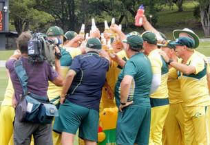 The Aussies celebrate