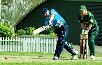 Foster plays a nice shot through straight mid-wicket