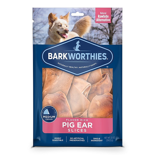 Barkworthies Pig Ear Slices Dog Treats (12oz)