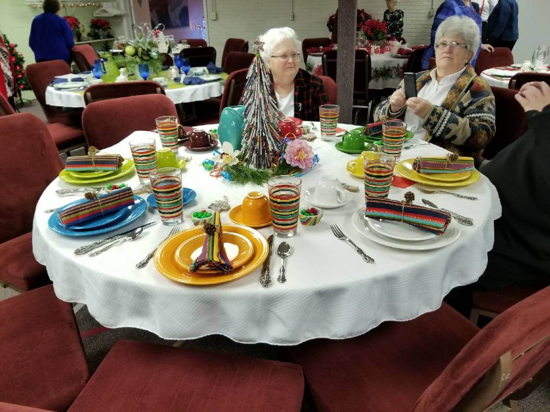 Table set for Ladies Christmas Lunch