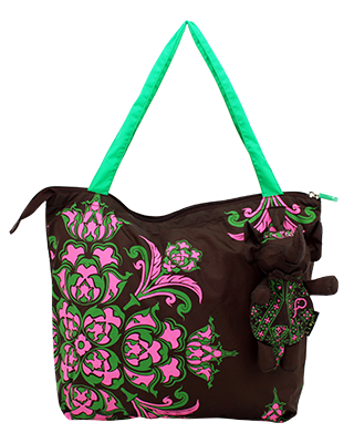 Eleph Foldable Bag Pudtarn Choc/Green-Pink