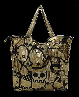 Eleph Foldable Bag Disco Skull Gold