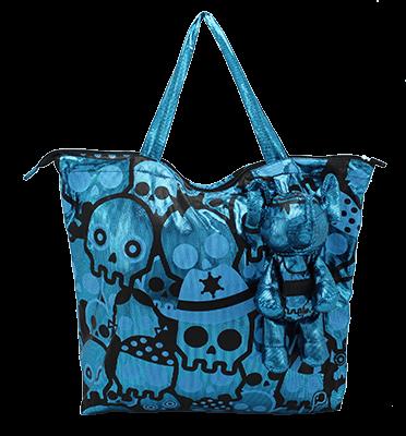 Eleph Foldable Bag Disco Skull Turquoise