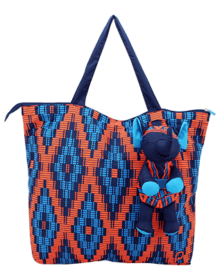 Eleph Foldable Bag Mudmee Navy/Orange-Blue