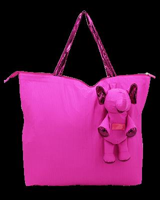 Eleph Foldable Bag Pleat Pink