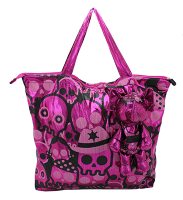 Eleph Foldable Bag Disco Skull Pink
