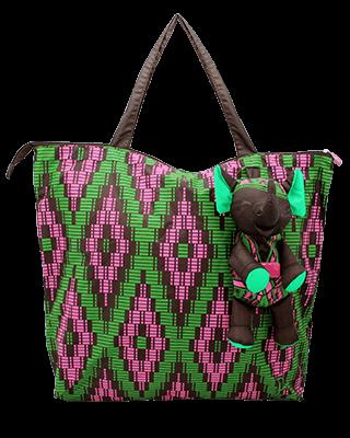 Eleph Foldable Bag Mudmee Choc/Green-Pink