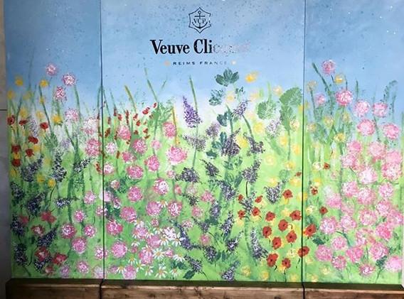 Flower garden custom canvas painted back
