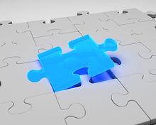 Final piece of a puzzle (blue)