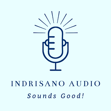 Indrisano Audio, LLC Logo: A microphone with text that reads Indrisano Audio Sounds Good!