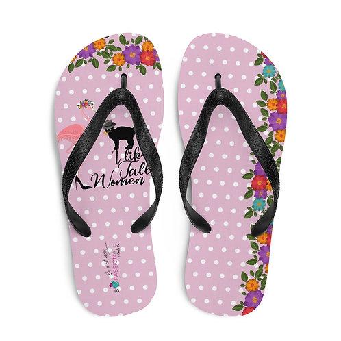 Pink 'Cat in love' flip flops