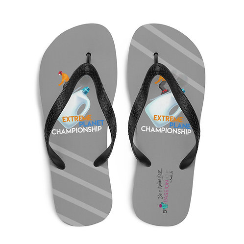 Gray 'Plastic Championship' flip flops