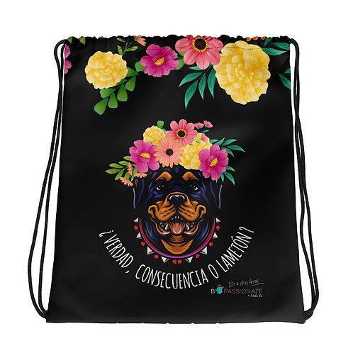 Basic black flower 'Loving dog' backpack