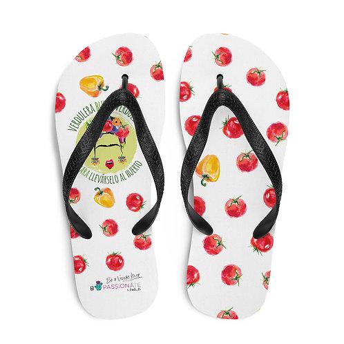 White 'Veggie lover' flip flops