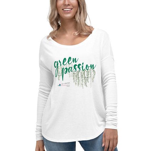 Camiseta flowy manga larga 'Green Passion'