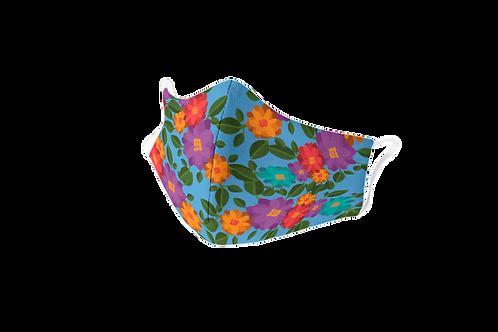 Mascarilla reutilizable azul flores 'El perro inteligente'