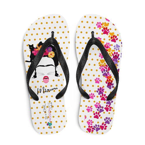 White 'B Felina' flip flops