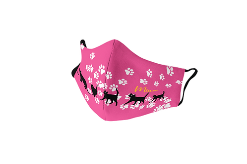 Pink reusable 'Lucky cat' mask