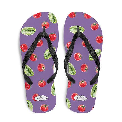 Purple 'Veggie lover' flip flops