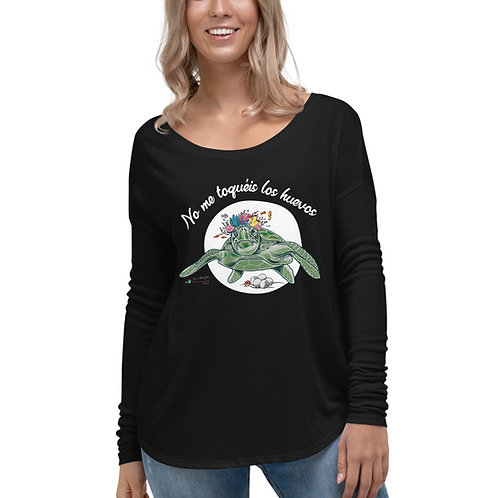 Camiseta flowy manga larga 'Tortuga cojonuda'