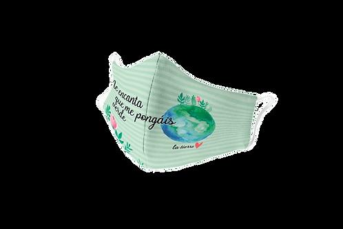 Green reusable 'Planet lover' mask