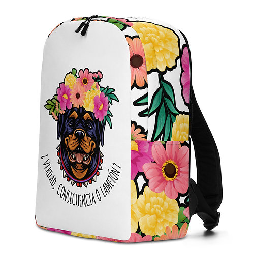 Large white flower 'Loving dog' backpack