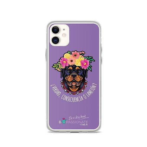 Fundas para iPhone moradas 'Perro amoroso'