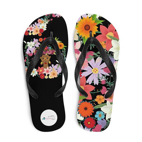 Black 'Doña Flor' flip-flops