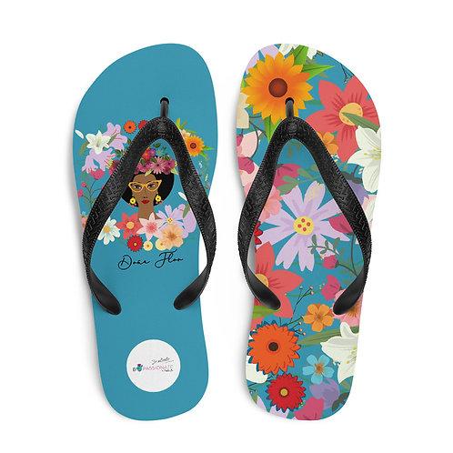 Blue 'Doña Flor' flip-flops