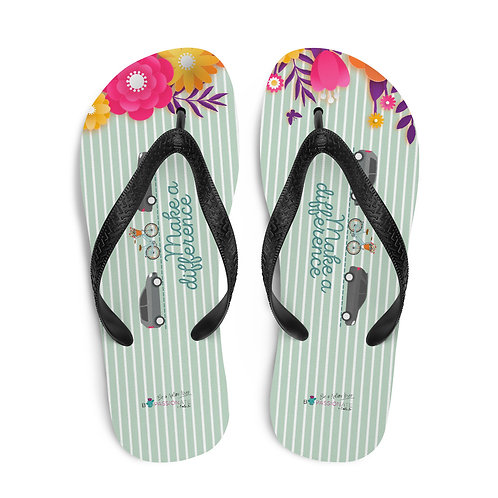 Green 'Make a difference' flip-flops