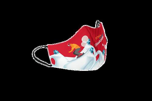 Red reusable 'Plastic Championship' mask