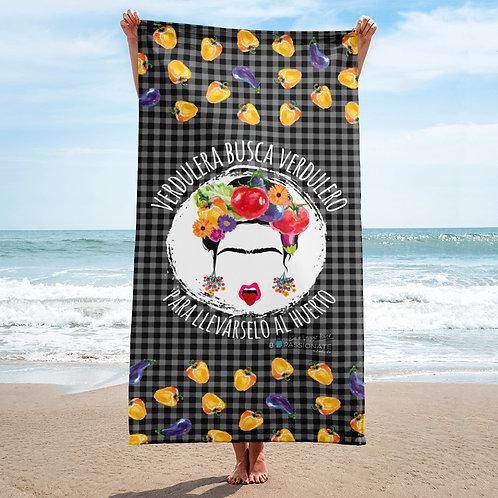 Black 'Veggie lover' towel