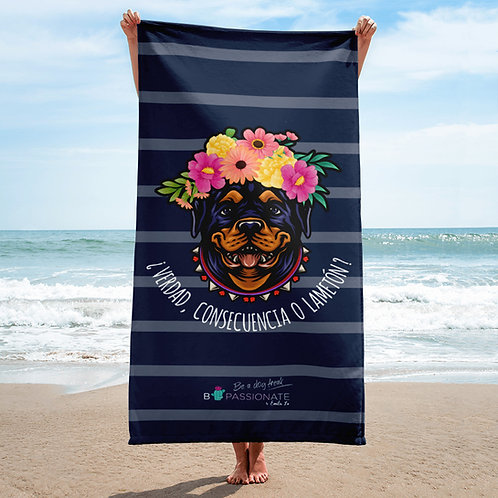 Navy blue 'Loving dog' towel