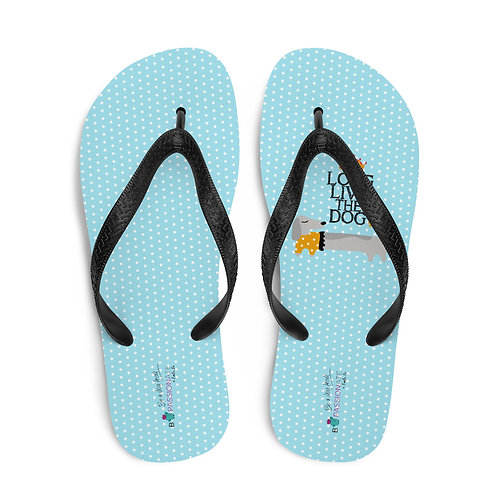 Light blue 'Long live the dog' flip-flops