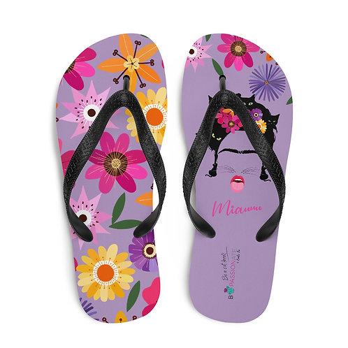 Purple 'B Felina' flip-flops