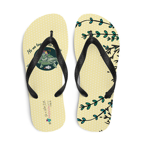 Yellow 'Great turtle' flip-flops