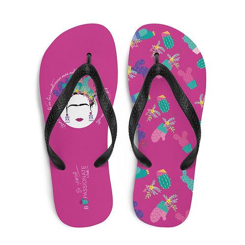 Fuchsia 'B Yourself' flip flops