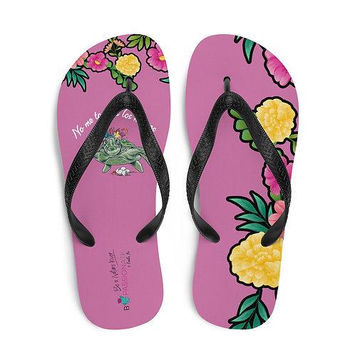 Coral 'Great turtle' flip-flops