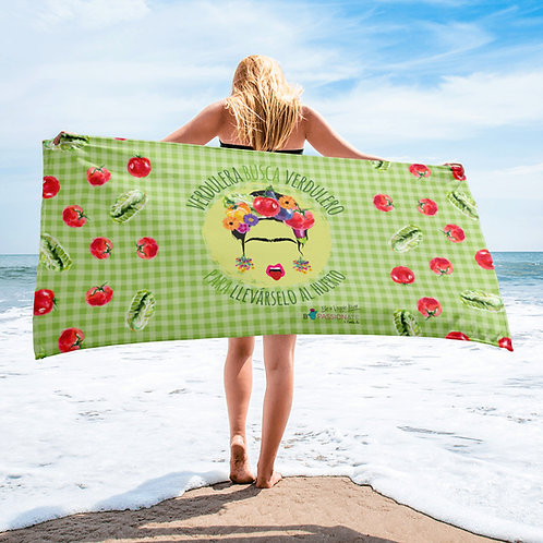 Green 'Veggie lover' towel