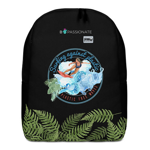 Large black backpack with leaves' 'Plastic-free waves'