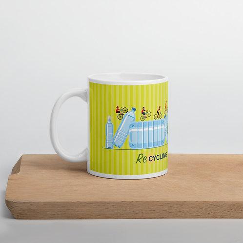 Yellow 'Re-Cycling' mug
