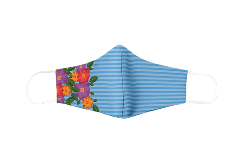 Blue striped and flower reusable 'The smart dog' mask