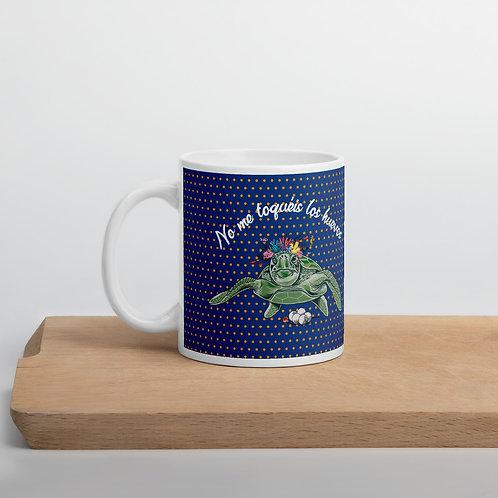 Taza azul marino 'Tortuga cojonuda'