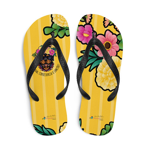 Yellow 'Loving dog' flip-flops