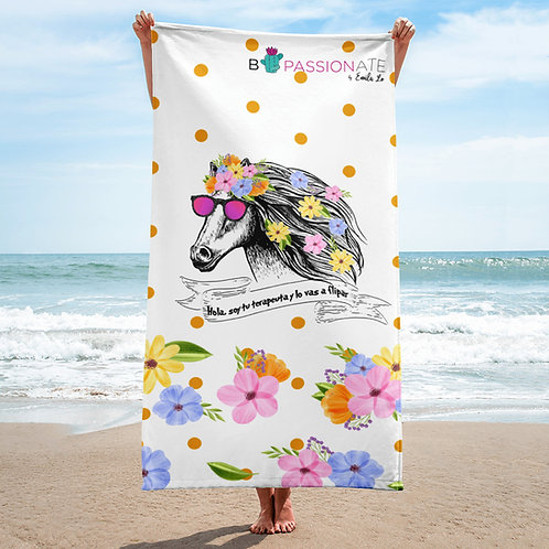 White 'Therapist horse' towel